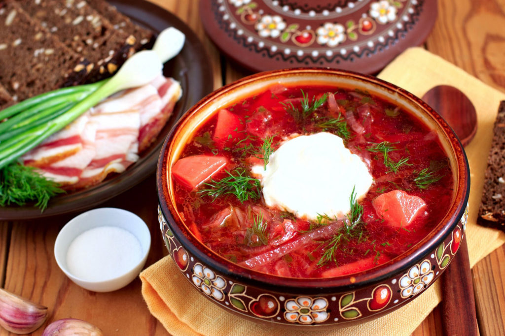 a plate of Borsch - most tasteful Ukrainian soup dish. 5 reasons to visit Ukraine