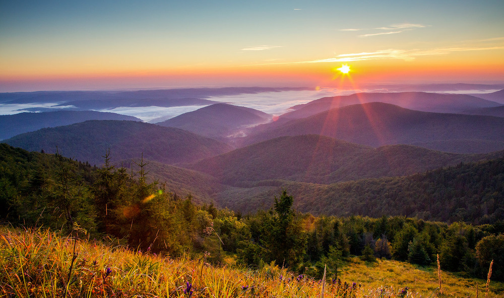 Ukraine, Carpathian mountains. Sunrise in mountains Ukraine. 5 reasons to visit Ukraine