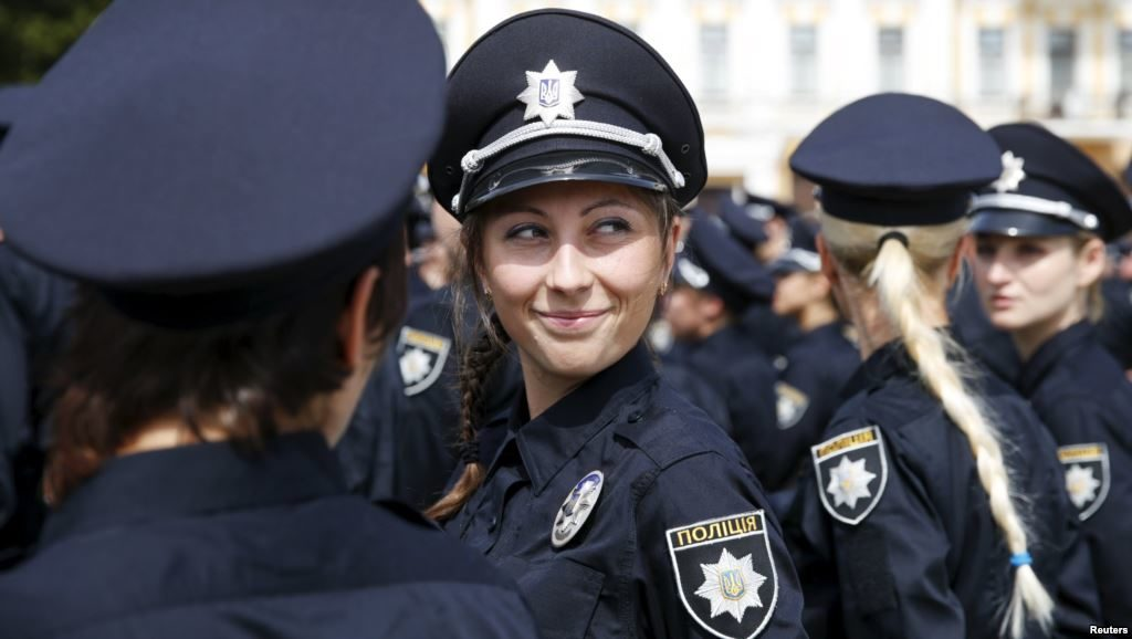 New Police, female police officers smiling, Kyiv