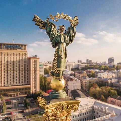 Kyiv main statue - symbol of Independence. Maidan square
