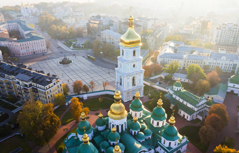 Air photo of Kiev and its UNESCO St. Sophia Cathedral
